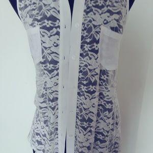 Ladies Ambiance White Lace Button up Vest Size L